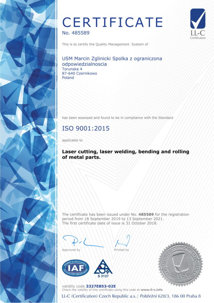 Certificate - Laser Cutting, Laser Welding, bending and rolling of metal parts