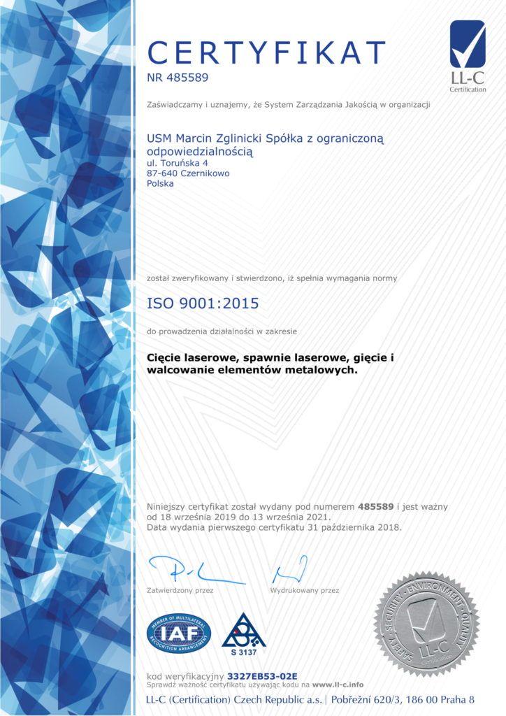 Certyfikat - Ciecie laserowe, Spawanie Laserowe, Gięcie i Walcowanie Elementów Metalowych