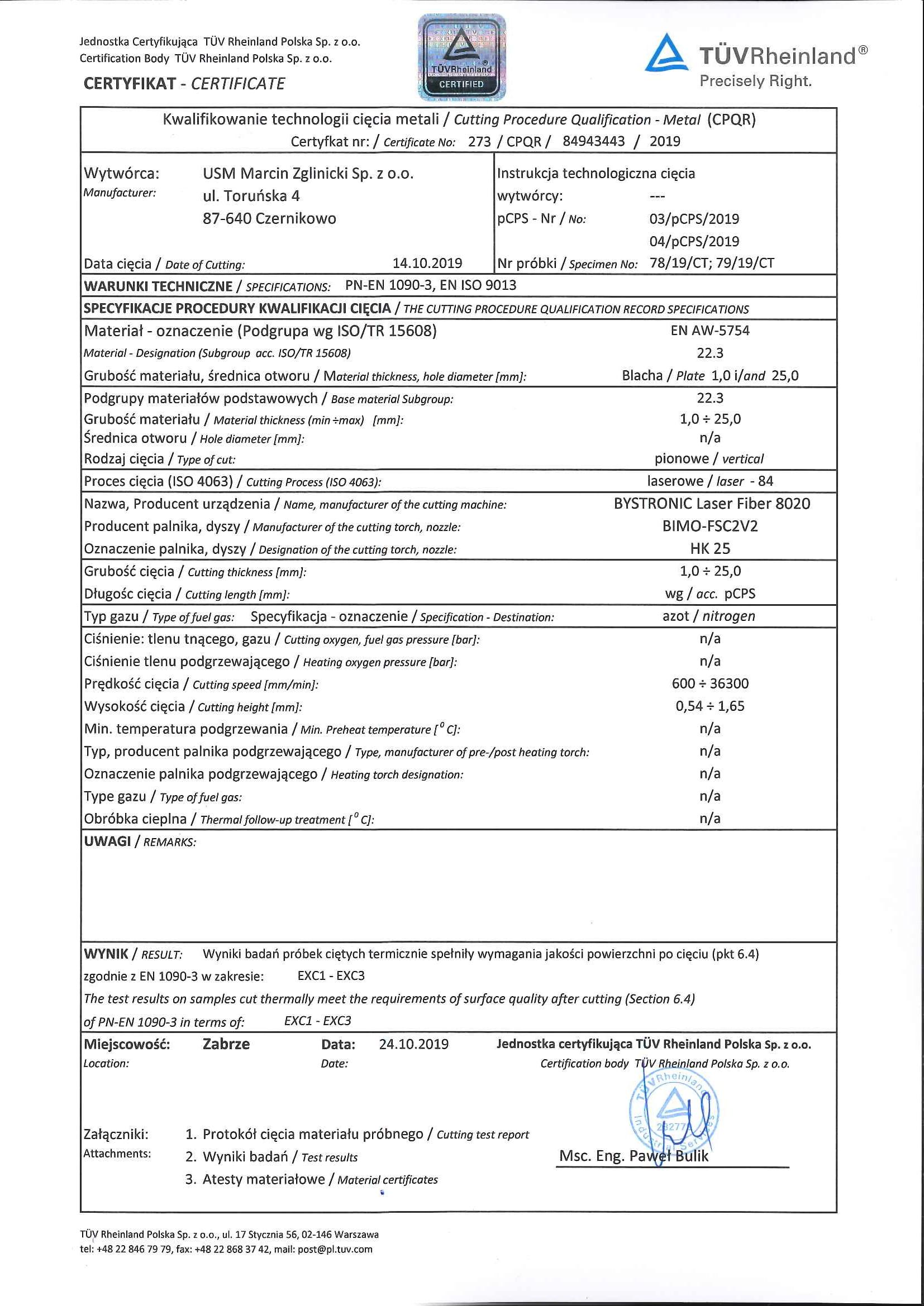 Certyfikat 273 - kwalifikacja technologii cięcia metali