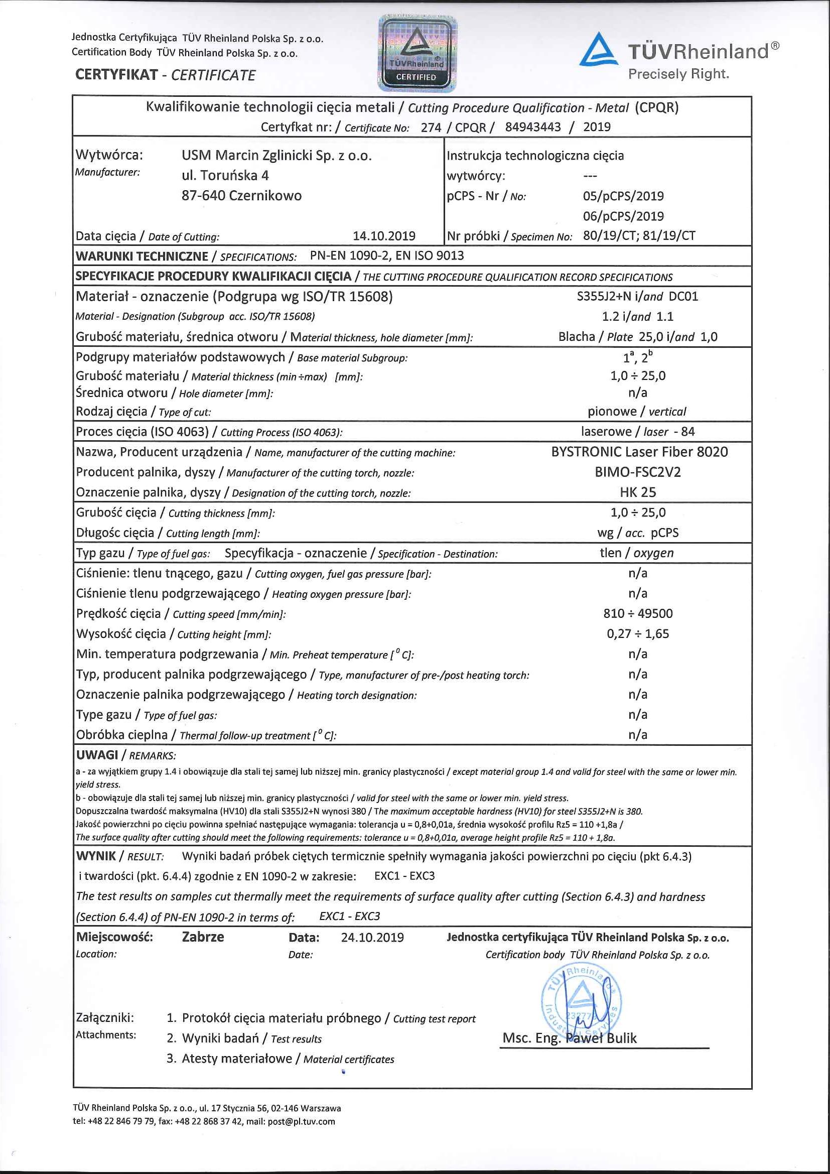 Certyfikat 274 - Technologie Cięcia Metali